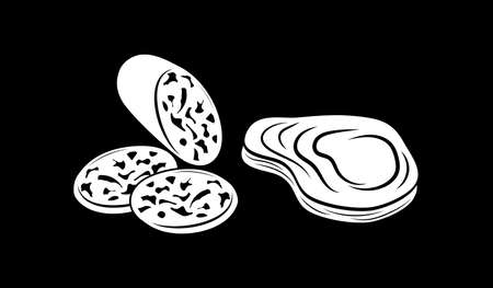 Sausage, steak set icon. Stencil food. Vector stock illustration. EPS 10