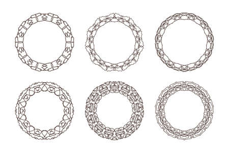 Outline frame set isolated on white. Coloring border. Intersection of lines. Crossing lines. Intersection circles. EPS 10