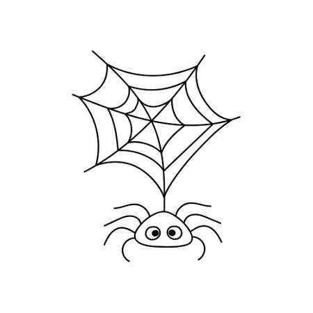 Doodle spider icon isolated on white. Halloween symbol. Sketch vector stock illustration. EPS 10