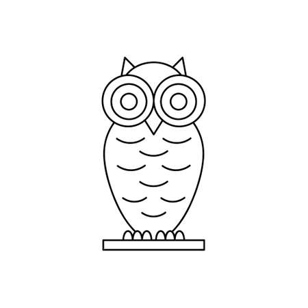 Doodle owl ison isolated on white. Animal line art. Sketch vector stock illustration. EPS 10