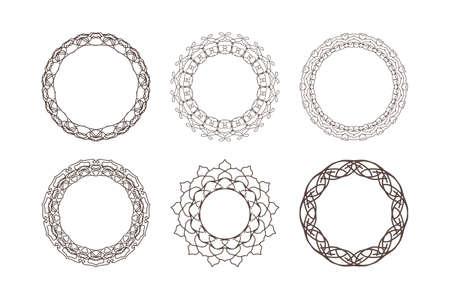 Outline frame set isolated on white. Coloring border. Intersection of lines. Crossing lines. Intersection circles.