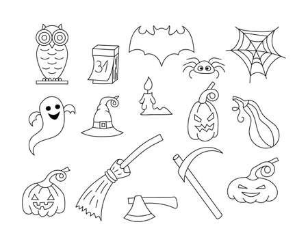 Doodle halloween set icon isolated on white. Hand drawing line art. Sketch vector stock illustration. EPS 10 Illusztráció