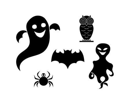 Doodle halloween set animals icon isolated on white. Stencil art. Illusztráció