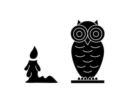 Doodle halloween set icon isolated on white. Stencil owl and candle.