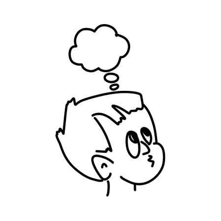 Freehand drawn thought bubble cartoon shocked man. Boy with chat. Sketch vector stock illustration. EPS 10
