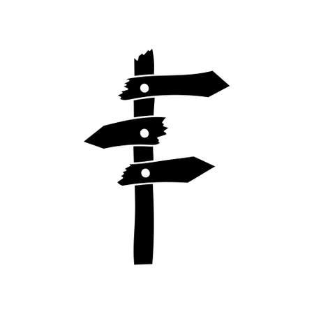 Doodle road sign isolated on white. Stencil arrow. Vector stock illustration. EPS 10