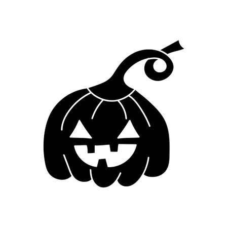 Hand drawing doodle pumpkin icon isolated on white. Halloween symbol. Vecror stock illustration. EPS 10