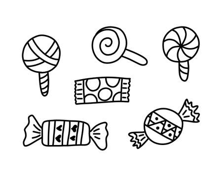 Doodle caramel icon, sweet collection, kids hand drawing