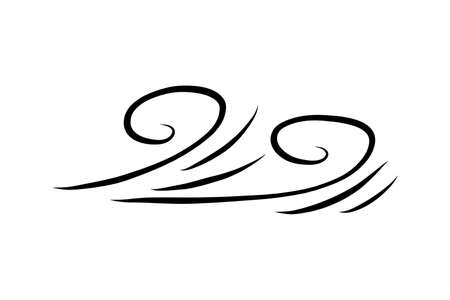 doodle hand drawing wind or wave icon isolated, sketch outline vector illustration Vektorové ilustrace