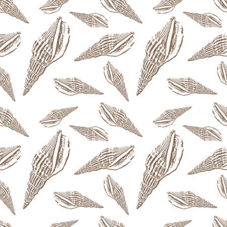 Doodle shellfish seamless pattern isolated on white. Hand drawing sketch
