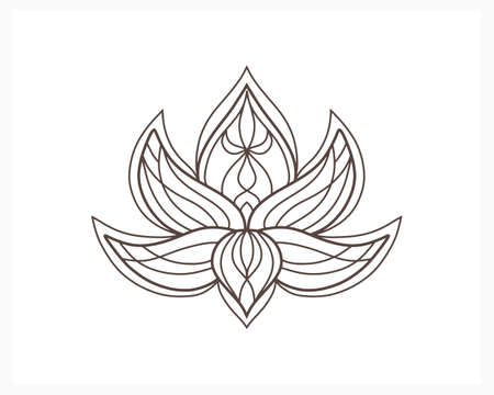 Lotus flower doodle icon isolated on white. Flower coloring page book.