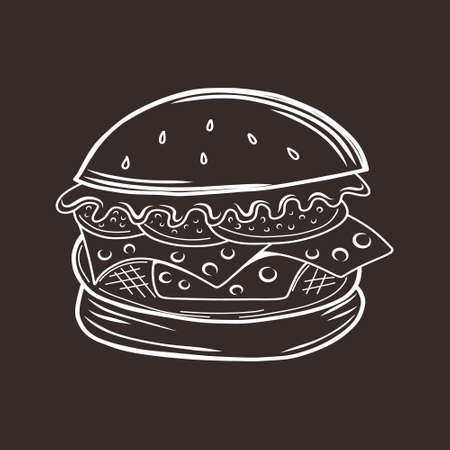 Doodle burger icon. Art line food.