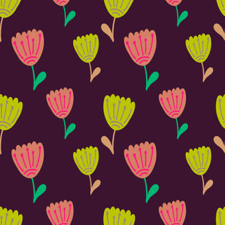 Boho flower with leaf seamless pattern. Cartoon vector stock illustration. Ilustração