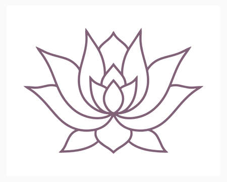 Lotus flower doodle icon isolated on white. Flower coloring page book. Sketch vector stock illustration.