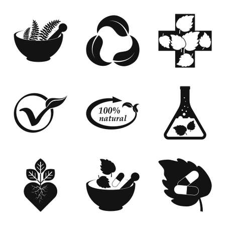 Herbal medicine set icons isolated on white. Stencil eco symbols. Vector stock illustration.