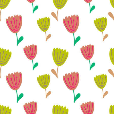 Boho flower with leaf seamless pattern isolated on white. Cartoon vector stock illustration. EPS 10