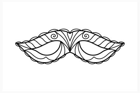 Doodle carnival mask isolated on white. Coloring page book. Sketch vector stock illustration.