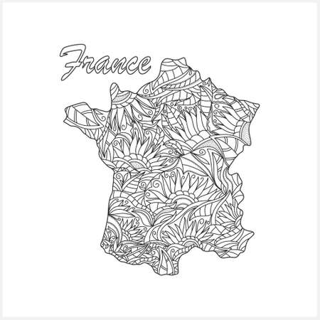 Doodle France map. Eco design. Coloring page book. Hand drawing line art.