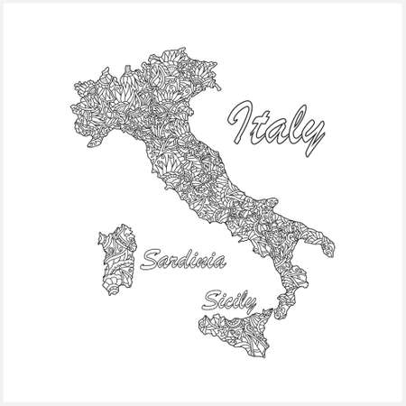 Doodle Italy map. Eco design. Coloring page book. Hand drawing line art.