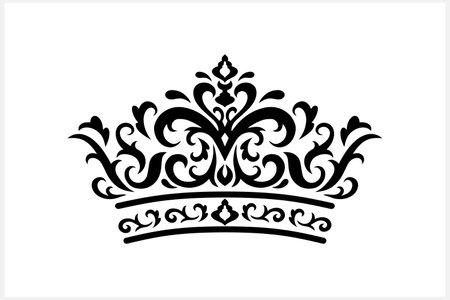 Vintage crown isolatwd on white. Stencil set. Vector stock illustration.