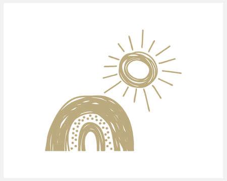 Boho rainbow and sun icon isolated on white. Vector stock illustration.