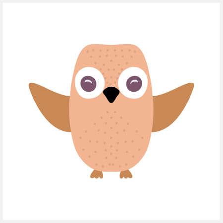 Doodle owl clipart isolated on white. Cartoon vector stock illustration. Illustration