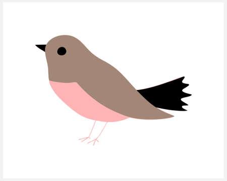 Doodle bird clipart isolated on white. Cartoon animal. Vector stock illustration.