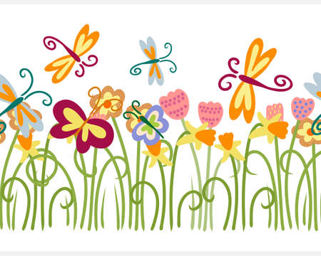 Boho flower with butterfly seamless border isolated on white. Cartoon vector stock illustration.