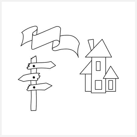 Doodle halloween house, road sign and ribbon icon isolated on white. Sketch collection. Vector stock illustration.