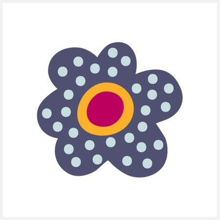 Boho flower icon isolated on white. Cartoon vector stock illustration. Illustration