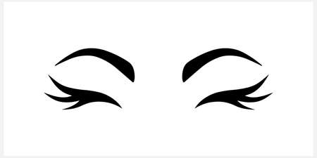 Doodle woman eye icon isolated on white. Stencil. Vector stock illustration.