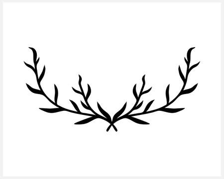 Doodle wreath icon isolated. Sketch eco clipart. Branch with leaf. Frame, border for design. Hand drawing art line. Vector stock illustration.