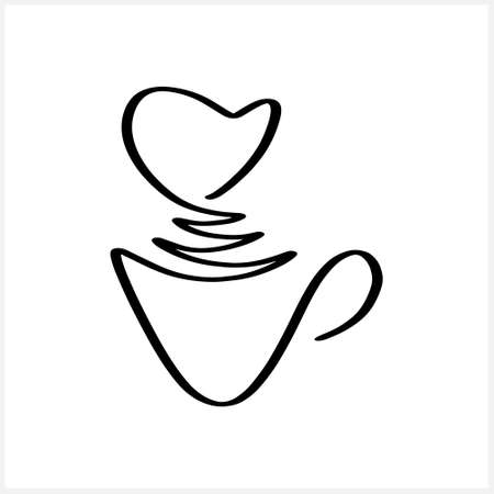 Coffee or tea cup icon. Doodle hand drawn line art. Hot drink. Vector stock illustration.