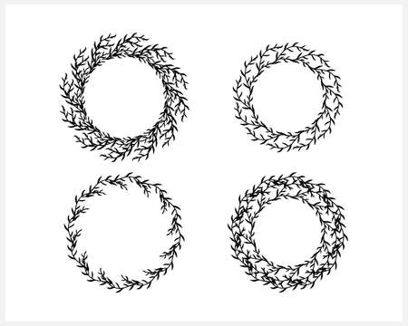 Wreath set clipart. Branch with leaf and fruit isolated on white. Frame, border for design. Vector stock illustration.