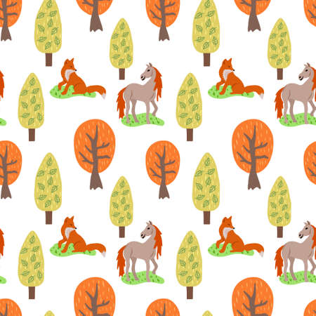 Doodle seamless pattern with fox and horse in forest isolated on white. Vector stock illustration.