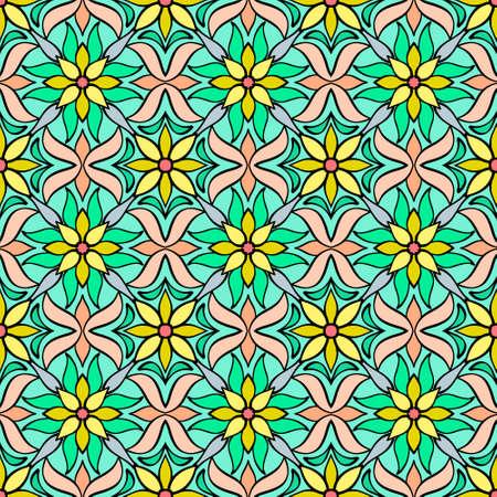 Flower seamless pattern. Doodle hand drawn art line. Sketch vector stock illustration.