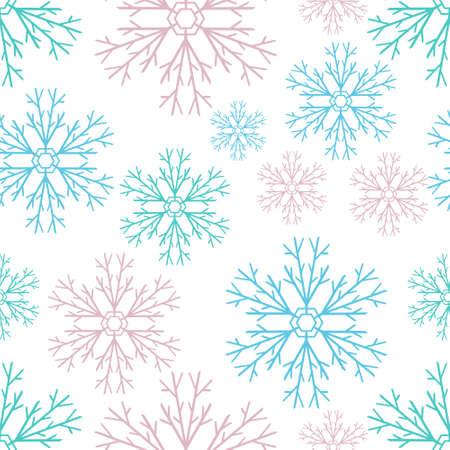 Snowflake seamless pattern isolated on white. Xmas vector stock illustration. Illustration