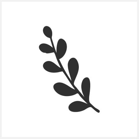 Doodle branch with leaves icon isolated on white. Sketch vector stock illustration. Illustration