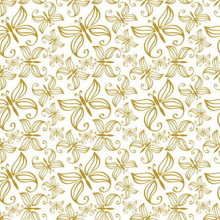 Doodle butterfly seamless pattern isolated on white. Hand drawn line art. Sketch animal. Vector stock illustration. Illustration