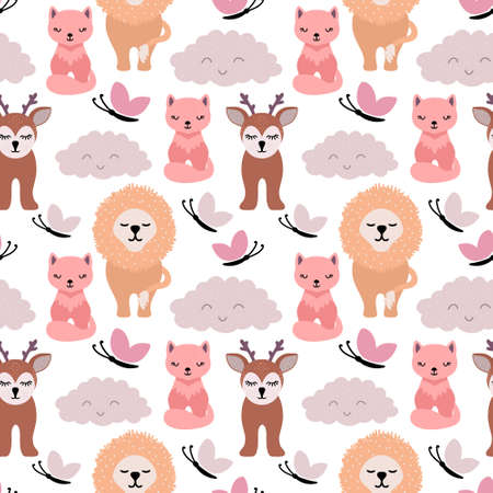 Doodle animals seamless pattern isolated on white. Cartoon vector stock illustration.