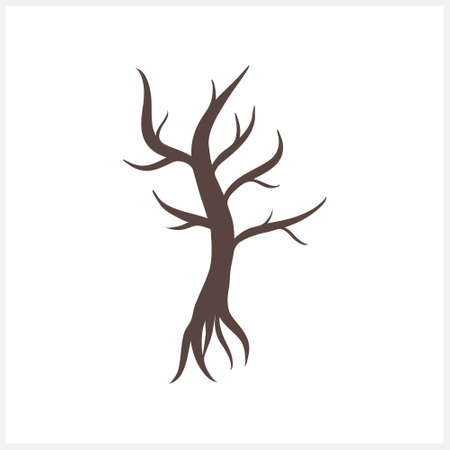 Doodle tree clipart isolated. Vector stock illustration.