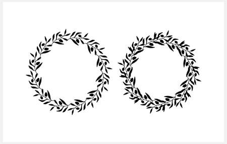 Wreath clipart. Branch with leaf isolated on white. Frame, border for design. Vector stock illustration.
