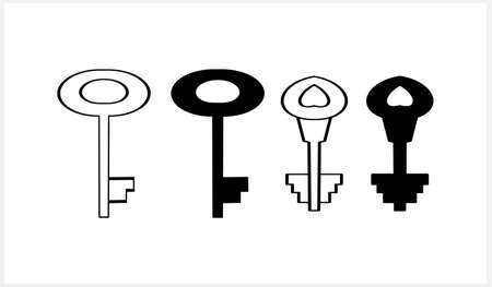 Doodle key icon isolated. Hand drawn art line. Sketch vector stock illustration.