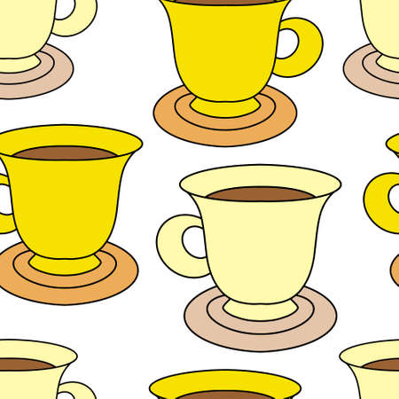 Doodle coffee cup seamless pattern isolated on white. Cartoon vector stock illustration.