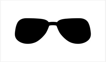 Hipster glasses icon isolated on white. Stencil clipart. Vector stock illustration.