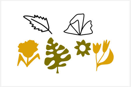 Doodle leaf and flower set icons isolated on white. Stencil leaves. Natutal collection. Vector stock illustration. EPS 10