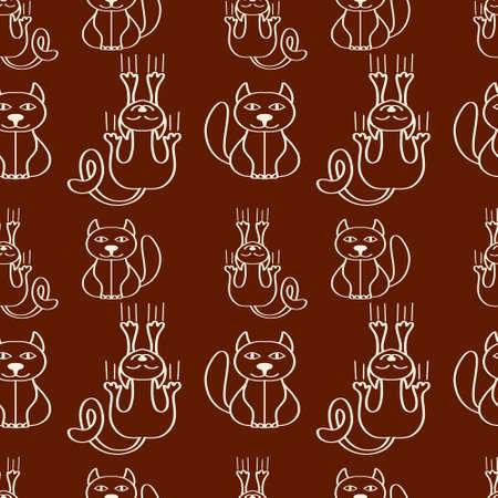 Doodle cat seamless pattern. Outline hand drawn art line. Sketch animal. Vector stock illustration.
