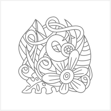 Doodle flower with leaves isolated on white. Coloring page book design. Sketch vector stock illustration.