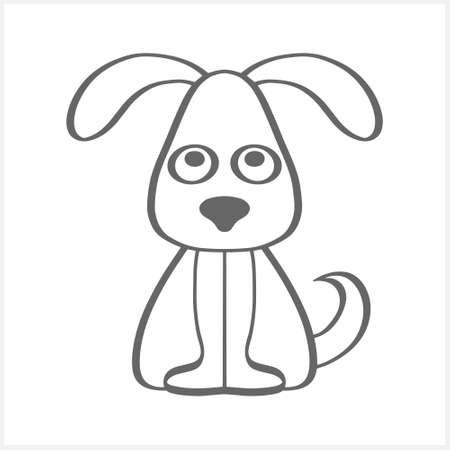 Doodle dog clipart isolated on white. Outline hand drawn art line. Sketch animal. Vector stock illustration.