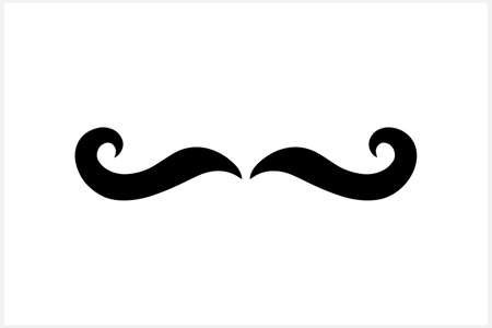 Hipster mustache clipart isolated on white. Stencil illustration.